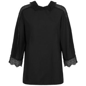 Sandro Women's Black Lotty Lace-panelled Blouse